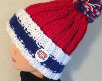 Montreal Canadiens Hat, Hockey Hat, Chunky Knit Hat, Hand Knit Hat, Beanie Hat, Slouch Hat, Pom Pom Hat, Team Hat, Winter Hat, Hockey Toque