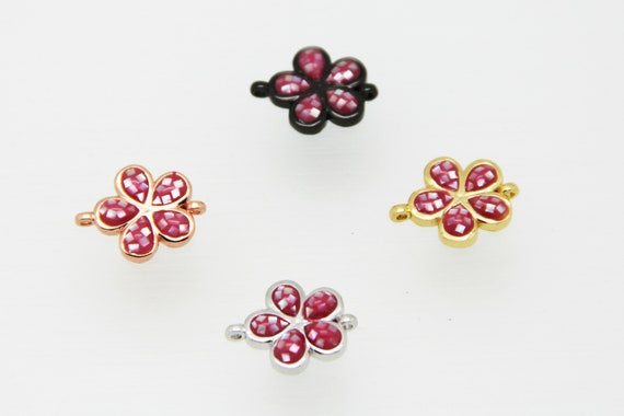 Pink Shell Mosaic With CZ Micro Pave 14mm Flower Connectors