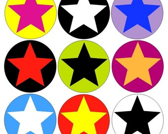 Stars pinback buttons set