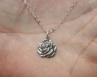 Flower Necklace,Silver  Rose Nacklace , 925 Sterling Pendant, Silver Jewelry, Handcrafted Pendant,