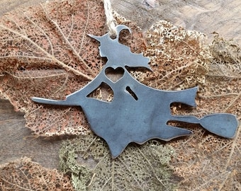 Witch Christmas Ornament Rustic Metal Halloween Ornament Holiday Gift Industrial Decor Wedding Favor By BE Creations