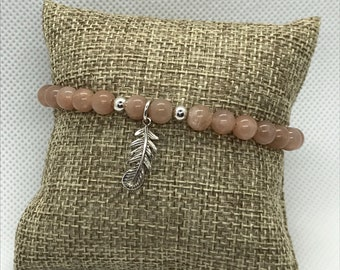Sunstone Bracelet with Feather charm, Stackable