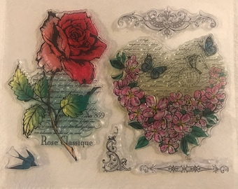 Floral clear Stamps, Flower Stamps, Script stamps, Rose stamps, ladies Card making stamps, Mothers Day Stamps, Heart stamps