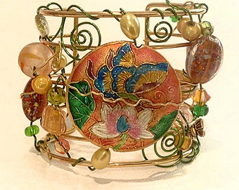 Peach and green Cuff bracelet, Swarovski crystal, cloisonné, Unique Cuff, One of a kind, butterfly,whimsical, trendy, malibu Style Design