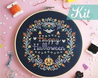 Cross stitch kits happy halloween cross stitch modern cross stitch halloween cross stitch DIY kits funny diy kits - HAPPY Halloween Wreath
