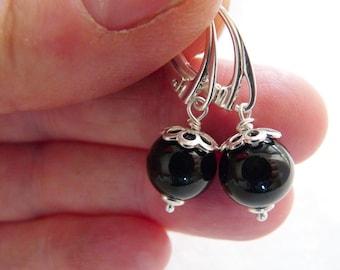 Onyx earrings, sterling silver earrings with Onyx beads, beaded earrings, short dangle earrings