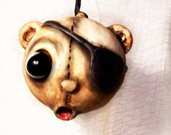 Christmas Teddy Bear Ornament - Creepy Cute - Pirate Bear - MADE TO ORDER -