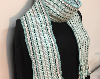 Pale Greens Scarf or Sash- Traditional Irish Handwoven Crios Style