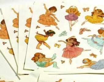 Hallmark Ballerina Stickers - Vintage 1990s Stickers - 1 full sheet