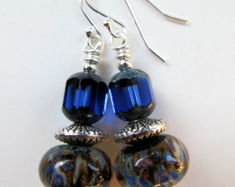SALE Royal Blue Czech Glass and Handcrafted Lampwork Glass Beaded Sterling Silver Earrings