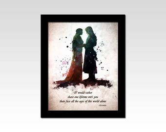 Lord of the Rings inspired Aragorn and Arwen quote print