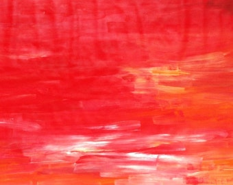 "RED LOVE - large original modern abstract wall decor painting, size: 26"" X 46"" (68 X 118 cm)"