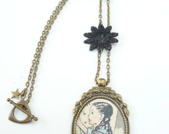 vintage Black Lace flowers necklace
