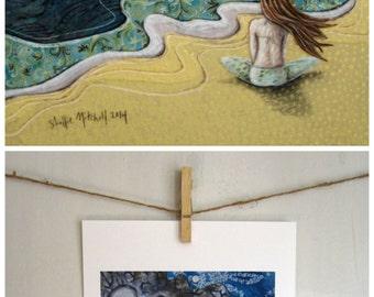 Beach print, Shabby chic, gift for her, beach decor, wife gift, rewnewed spirit, meditate, summer, reproduction print, shellieartist