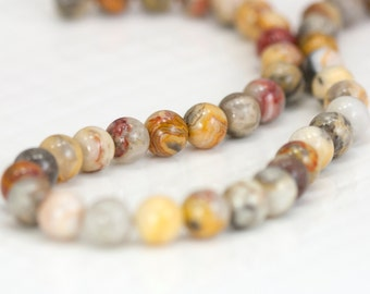 SALE - Smooth Jasper Gemstone Bead Strand, Full 13 inch Strand of 8.5mm Round Beads  - Tan, Cream, Brown, Neutral Beads- Item 159