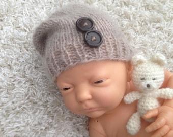Newborn knit slouch hat,photo prop,gift,boy,girl,crochet