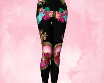 Yoga Pants, Womens Leggings, Catholic art, Sacred heart, heart Milagro, Immacuate heart, flaming corazon, pink black, pink turquoise, gift