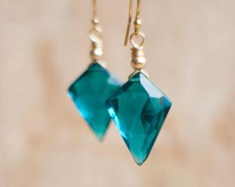 Blue Geometric Earrings, Gift for Her, Arrowhead Dangle Earrings, Gift for Mum, Handmade Earrings, Gemstone Jewelry, Blue Gold Earrings
