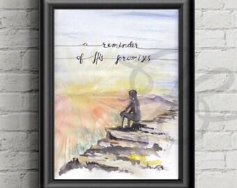 Psalm 43 3 4, Girl overlooking mountain, mountain view,  canvas, print, Bible verse canvas, wall art, Calligraphy bible verse, Scripture