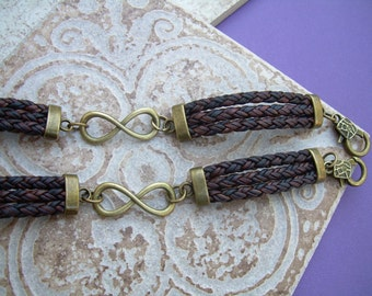 His and Hers Infinity Bracelets  Set of 2 , Leather Bracelet, Antique Bronze,  Infinity, Mens Bracelet, Womens Bracelet