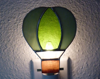 Stained Glass Night Light, Green Hot Air Balloon, Wall Plug in, Birthday Gifts For Him Her Bathroom Kitchen Bedroom Home Decor U L Certified