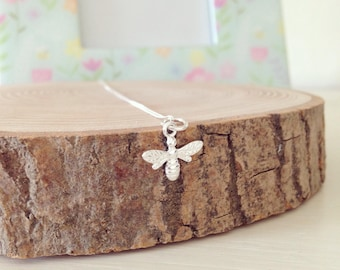 Sterling silver bumble bee on a sterling silver chain