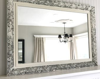 Creamy White Distressed Mirror, Shabby Chic Style, Farmhouse Bathroom