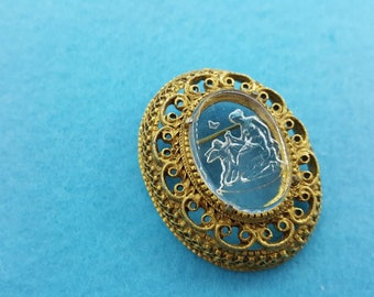 Florenza signed  Intaglio Art Glass Brooch Mother with Angel