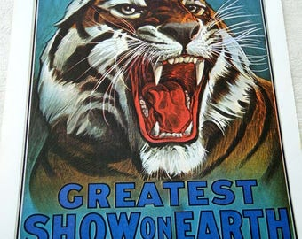 Vintage 1916 Barnum and Bailey Circus Greatest Show on Earth Classic Growling TIGER Poster Size Book Plate