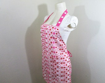 Bib Apron - Valentines Apron loaded with Hearts and Dots, Pretty Pink Cooking Apron, Chefs Apron, Baking Apron, Kitchen Apron, Heart apron