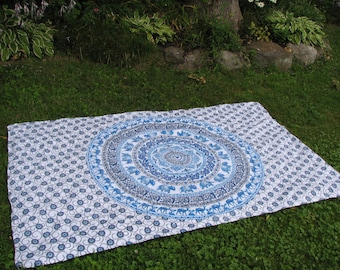 Stake Down Picnic Blanket, White Blue and Turquoise Elephant Tapestry Picnic Blanket