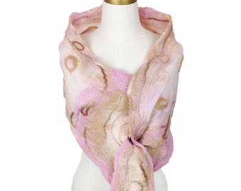 Women's Pink Silk and Merino Wool Shawl, Nuno Felted Wrap, Unique Handmade Scarf, Wearable Art, Wedding Shawl, Felted Collar, Felt Necklace