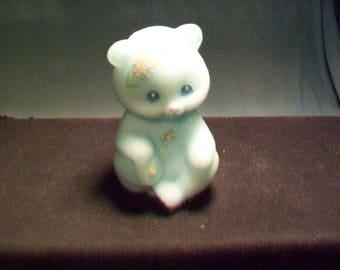 Blue Satin Hand Painted Bear Figurine Fenton Glass