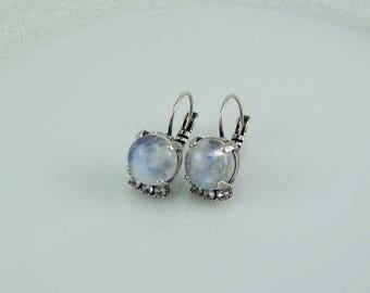 Rainbow Moonstone Earrings, Natural Stone Earrings, Natural AAA Moonstones, Gemstone Earrings, Rainbow Moonstone, June Birthstone,Moonstone