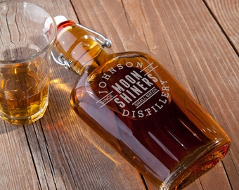 Personalized Glass Flask - Moon Shine Distillery Glass Flask - Personalized Flask - Groomsmen Gift Ideas - Husband Gifts - GC1119