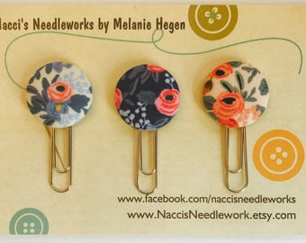 Fabric Button Planner Clips - Planner Paper Clips - Floral Paper Clips - Planner Accessories