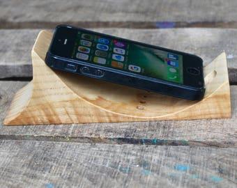 Support téléphone portable en bois de Frêne, station artisanale fait main
