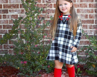 Black and white plaid fleece dress