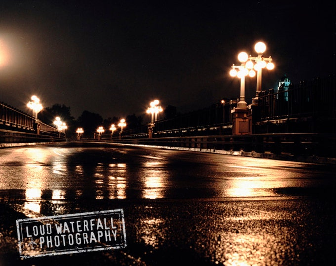 Night Noir Decor, Rainy Decor, Urban Cityscape at Midnight, Pasadena Bridge, Reflection Decor, Color Photograph 8x10 11x14 16x20