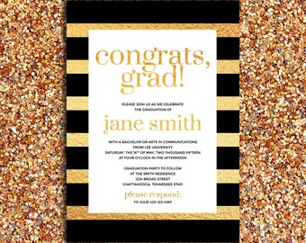 Printable – Modern, Black and Faux Gold Stripes Graduation Announcement and Party Invitation