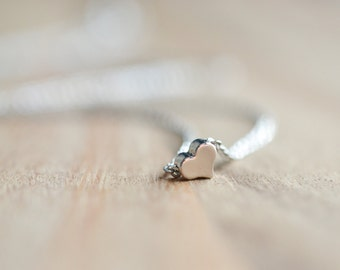 Silver Tiny Heart Necklace - Bridesmaid Gift - Minimalist Everyday Jewelry - Silver Mini Heart Necklace - Simple Gift Idea