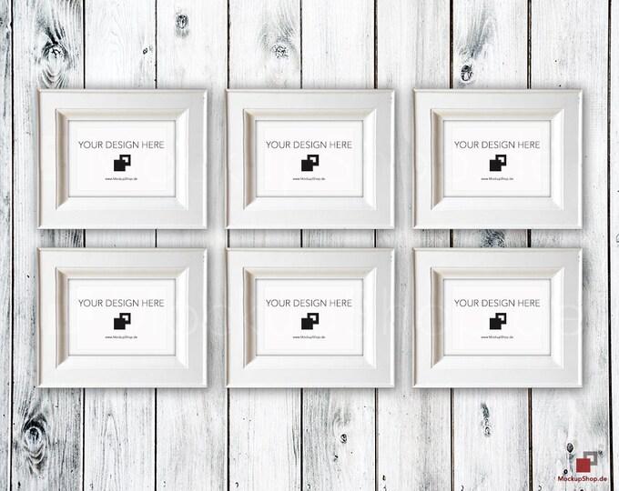 VINTAGE FRAME MOCKUP A4, Set of 6, wood frame mockup in Vintagel, Old white Frame Mockup, Old Vintage Frame Mock-up, Vintage nordish style