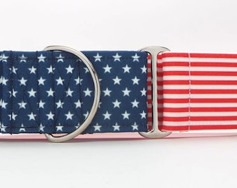 Grand Ole Flag CANVAS Dog Collar (Martingale, Buckle or Tag)
