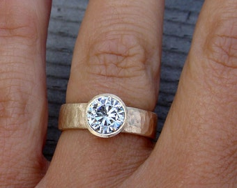 Moissanite Wedding, Engagement, or Right Hand Ring - Forever One G-H-I Moissanite with Recycled 14k Yellow Gold, Hammered, Made To Order