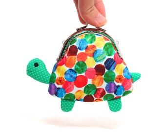 Cute green turtle clutch purse