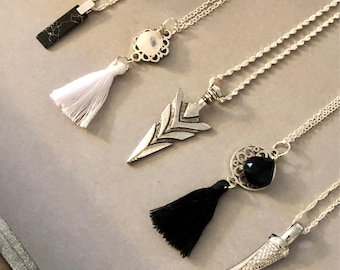 Sterling Silver Layering Pendant Necklace Tassel Gemstone Arrow Horn CZ Fashion Trending Gift Special Occasion Present