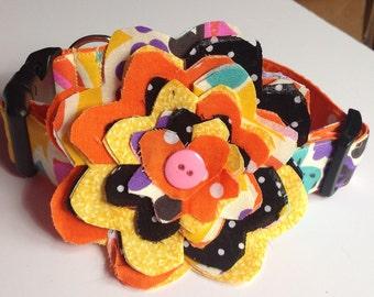 Orange Summer Dog & Cat Flower Collar