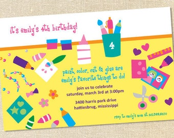 Sweet Wishes Crafty Artisy Party Invitations - PRINTED - Digital File Also Available
