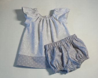 Baby Girls Grey Flutter Sleeve Dress and Bloomers - Soft Grey and White with Flowers & Polka-Dots - Size Newborn, 3m, 6m, 9m, 12m or 18m