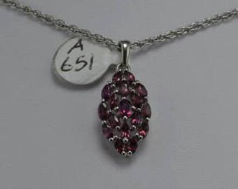 Rhodolite Garnet Sterling Silver Pendant, Rhodium Plated, January Birthstone